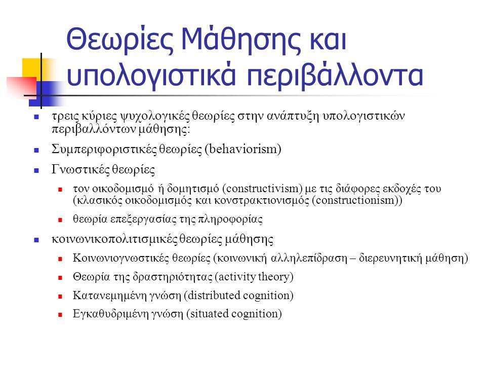 Θεωρίες Μάθησης και υπολογιστικά περιβάλλοντα τρεις κύριες ψυχολογικές θεωρίες στην ανάπτυξη υπολογιστικών περιβαλλόντων μάθησης: Συμπεριφοριστικές θεωρίες (behaviorism) Γνωστικές θεωρίες τον οικοδομισμό ή δομητισμό (constructivism) με τις διάφορες εκδοχές του (κλασικός οικοδομισμός και κονστρακτιονισμός (constructionism)) θεωρία επεξεργασίας της πληροφορίας κοινωνικοπολιτισμικές θεωρίες μάθησης Κοινωνιογνωστικές θεωρίες (κοινωνική αλληλεπίδραση – διερευνητική μάθηση) Θεωρία της δραστηριότητας (activity theory) Κατανεμημένη γνώση (distributed cognition) Εγκαθυδριμένη γνώση (situated cognition)