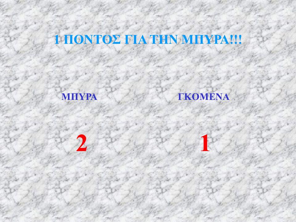1 ΠΟΝΤΟΣ ΓΙΑ ΤΗΝ ΜΠΥΡΑ!!! ΜΠΥΡΑ ΓΚΟΜΕΝΑ 2 1