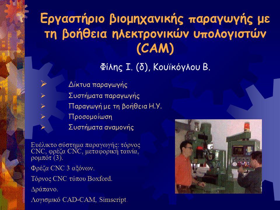 Εργαστήριο βιομηχανικής παραγωγής με τη βοήθεια ηλεκτρονικών υπολογιστών (CAM) Φίλης Ι. (δ), Κουϊκόγλου Β.  Δίκτυα παραγωγής  Συστήματα παραγωγής 
