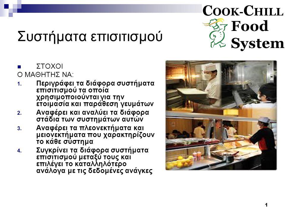 2 Ψήσιμο και Ελαφρά ψύξη Cook Chill Ορισμός  Είναι το σύστημα επισιτισμού το οποίο βασίζεται στο ολοκληρωμένο μαγείρεμα και ακολουθεί αποθήκευση του με γρήγορη ελαφρά ψύξη με ελεγχόμενη θερμοκρασία στους 0 με 3 °C Διάρκεια ζωής  5 μέρες συμπεριλαμβανόμενης και τη ημέρα παραγωγής