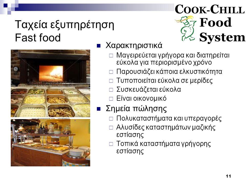 11 Ταχεία εξυπηρέτηση Fast food Χαρακτηριστικά  Μαγειρεύεται γρήγορα και διατηρείται εύκολα για περιορισμένο χρόνο  Παρουσιάζει κάποια ελκυστικότητα  Τυποποιείται εύκολα σε μερίδες  Συσκευάζεται εύκολα  Είναι οικονομικό Σημεία πώλησης  Πολυκαταστήματα και υπεραγορές  Αλυσίδες καταστημάτων μαζικής εστίασης  Τοπικά καταστήματα γρήγορης εστίασης