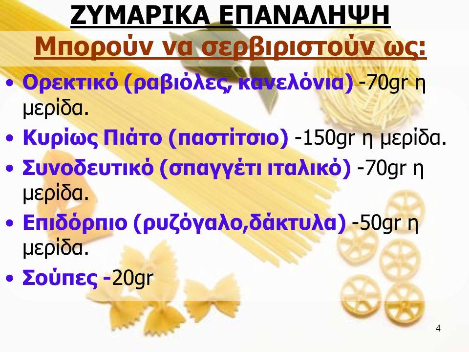 ΖΥΜΑΡΙΚΑ ΕΠΑΝΑΛΗΨΗ Μπορούν να σερβιριστούν ως: Ορεκτικό (ραβιόλες, κανελόνια) -70gr η μερίδα.