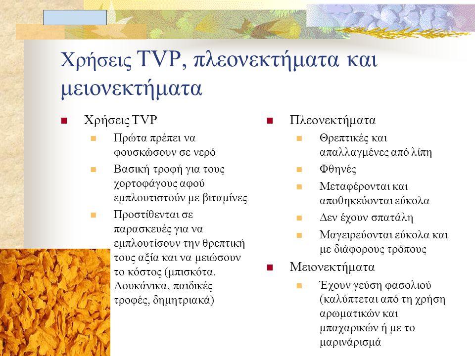 Π. Μαυρογένης Χρήσεις TVP, πλεονεκτήματα και μειονεκτήματα Χρήσεις TVP Πρώτα πρέπει να φουσκώσουν σε νερό Βασική τροφή για τους χορτοφάγους αφού εμπλο
