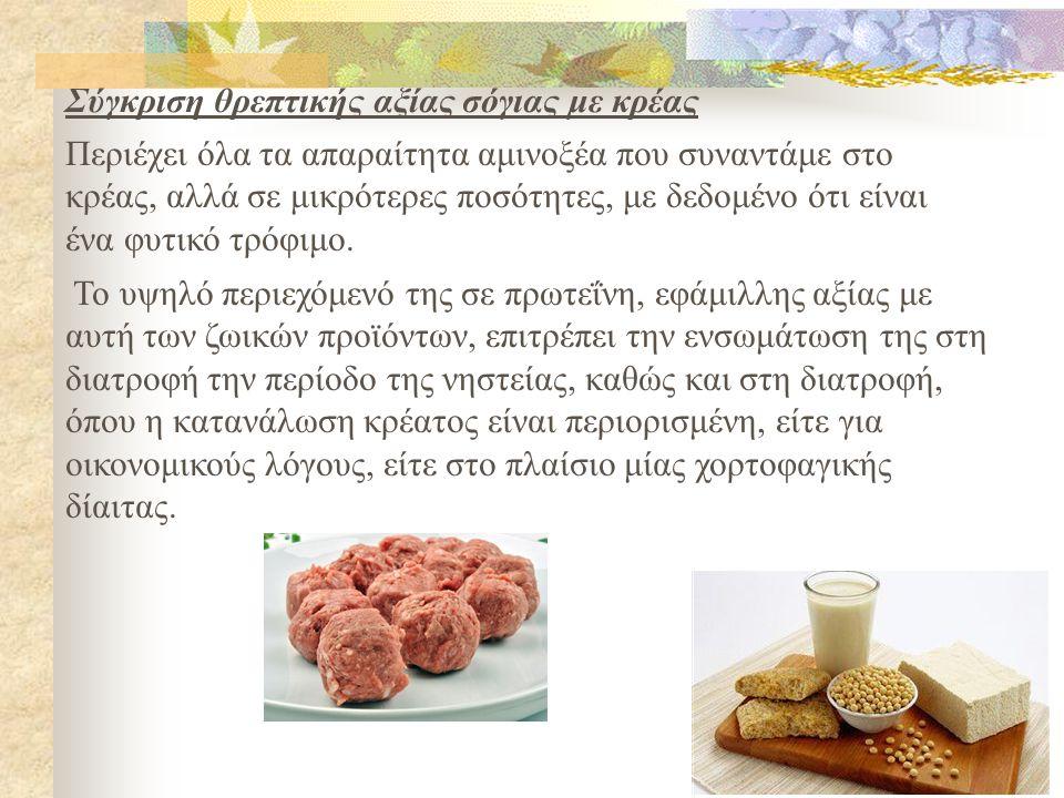 Το υψηλό περιεχόμενό της σε πρωτεΐνη, εφάμιλλης αξίας με αυτή των ζωικών προϊόντων, επιτρέπει την ενσωμάτωση της στη διατροφή την περίοδο της νηστείας, καθώς και στη διατροφή, όπου η κατανάλωση κρέατος είναι περιορισμένη, είτε για οικονομικούς λόγους, είτε στο πλαίσιο μίας χορτοφαγικής δίαιτας.