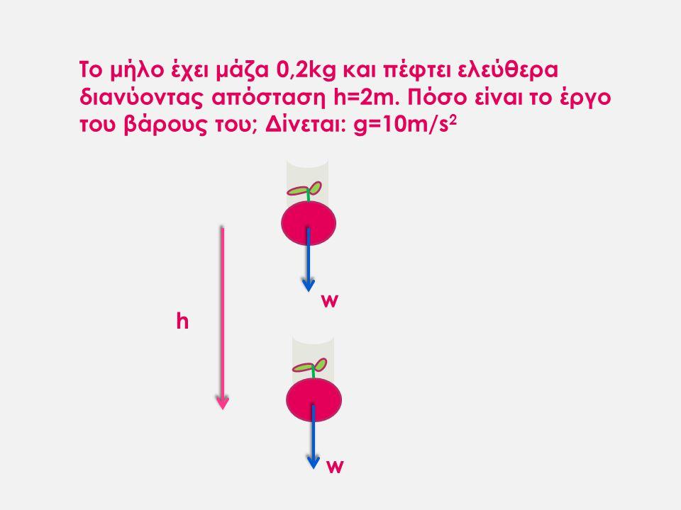 Το μήλο έχει μάζα 0,2kg και πέφτει ελεύθερα διανύοντας απόσταση h=2m. Πόσο είναι το έργο του βάρους του; Δίνεται: g=10m/s 2 w w h