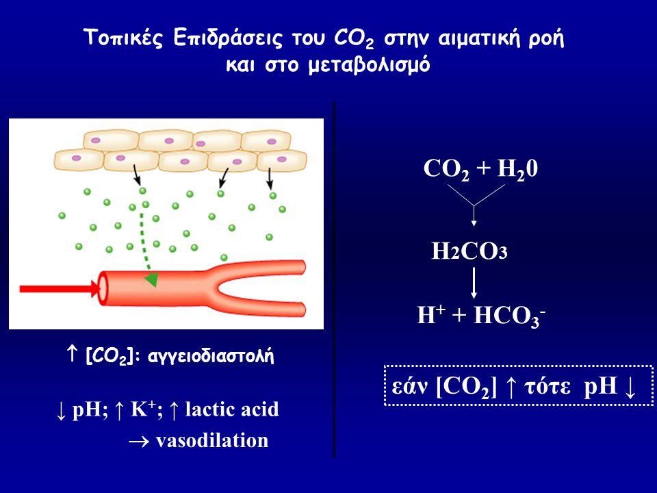  [CO 2 ]: αγγειοδιαστολή Τοπικές Επιδράσεις του CO 2 στην αιματική ροή και στο μεταβολισμό ↓ pH; ↑ K + ; ↑ lactic acid  vasodilation CO 2 + H 2 0 H