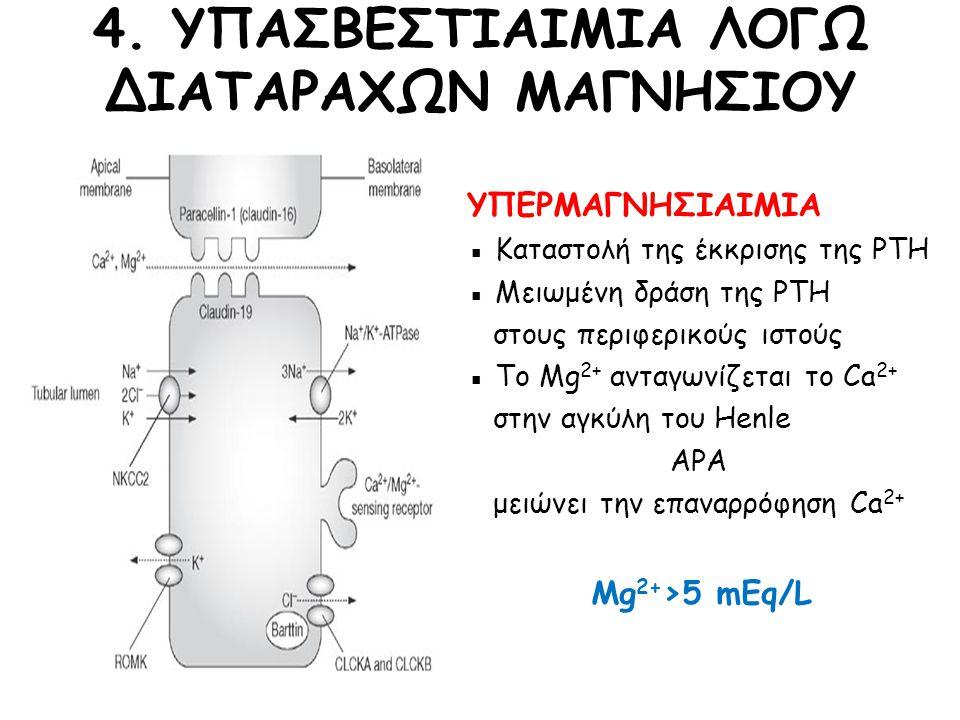 ΥΠΕΡΜΑΓΝΗΣΙΑΙΜΙΑ ▪ Καταστολή της έκκρισης της PTH ▪ Μειωμένη δράση της PTH στους περιφερικούς ιστούς ▪ Το Mg 2+ ανταγωνίζεται το Ca 2+ στην αγκύλη του Henle ΑΡΑ μειώνει την επαναρρόφηση Ca 2+ Mg 2+ >5 mEq/L 4.