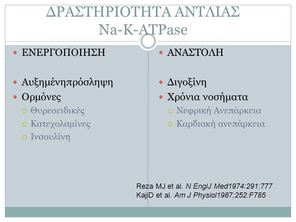 ΔΡΑΣΤΗΡΙΟΤΗΤΑ ΑΝΤΛΙΑΣ Na-K-ATPase ΕΝΕΡΓΟΠΟΙΗΣΗ Αυξημένηπρόσληψη Ορμόνες  Θυρεοειδικές  Κατεχολαμίνες  Ινσουλίνη ΑΝΑΣΤΟΛΗ Διγοξίνη Χρόνια νοσήματα 