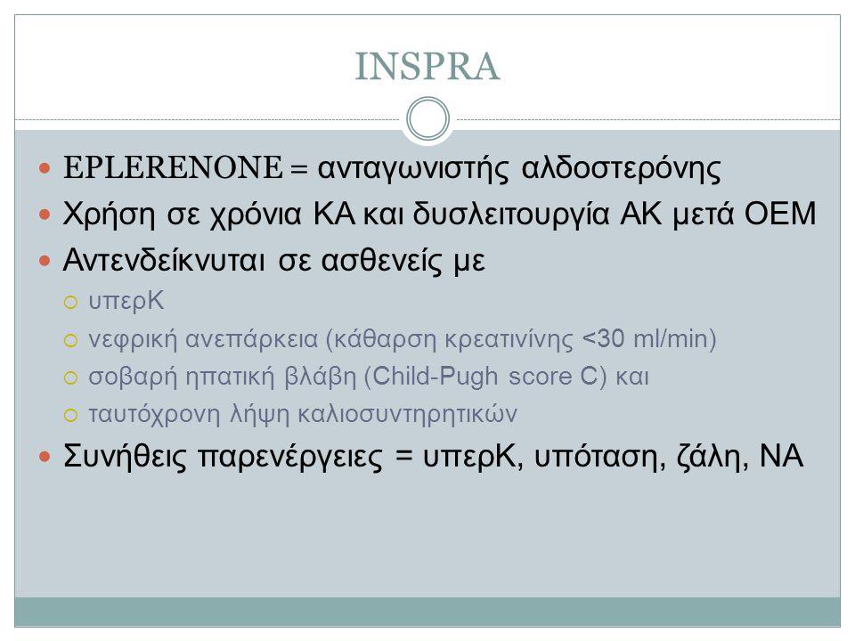 INSPRA EPLERENONE = ανταγωνιστής αλδοστερόνης Χρήση σε χρόνια ΚΑ και δυσλειτουργία ΑΚ μετά ΟΕΜ Αντενδείκνυται σε ασθενείς με  υπερΚ  νεφρική ανεπάρκεια (κάθαρση κρεατινίνης <30 ml/min)  σοβαρή ηπατική βλάβη (Child-Pugh score C) και  ταυτόχρονη λήψη καλιοσυντηρητικών Συνήθεις παρενέργειες = υπερΚ, υπόταση, ζάλη, ΝΑ