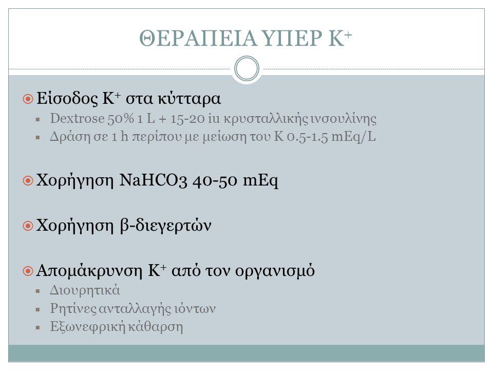 ΘΕΡΑΠΕΙΑ ΥΠΕΡ Κ +  Είσοδος Κ + στα κύτταρα  Dextrose 50% 1 L + 15-20 iu κρυσταλλικής ινσουλίνης  Δράση σε 1 h περίπου με μείωση του Κ 0.5-1.5 mEq/L  Χορήγηση NaHCO3 40-50 mEq  Χορήγηση β-διεγερτών  Απομάκρυνση Κ + από τον οργανισμό  Διουρητικά  Ρητίνες ανταλλαγής ιόντων  Εξωνεφρική κάθαρση