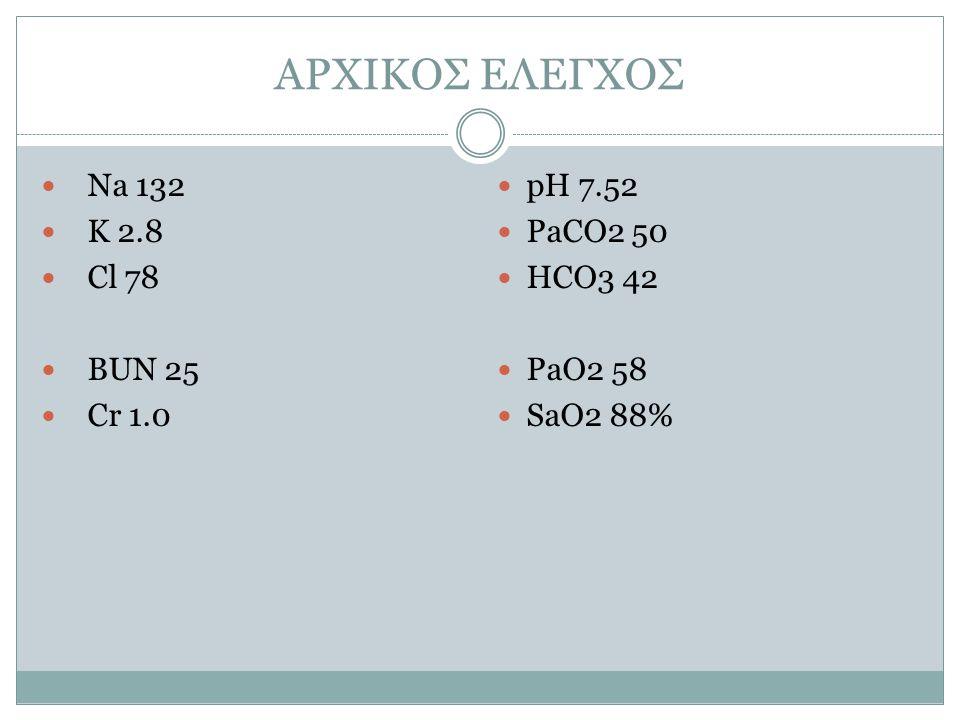 ΑΡΧΙΚΟΣ ΕΛΕΓΧΟΣ Na 132 K 2.8 Cl 78 BUN 25 Cr 1.0 pH 7.52 PaCO2 50 HCO3 42 PaO2 58 SaO2 88%
