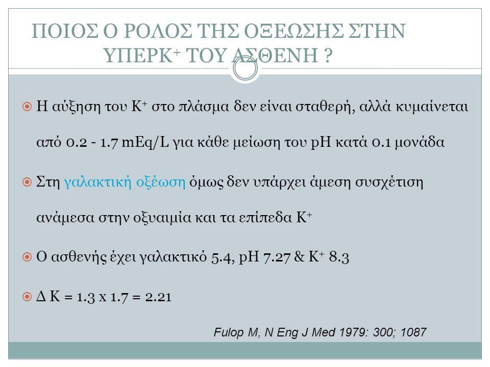 ΠΟΙΟΣ Ο ΡΟΛΟΣ ΤΗΣ ΟΞΕΩΣΗΣ ΣΤΗΝ ΥΠΕΡΚ + ΤΟΥ ΑΣΘΕΝΗ ?  Η αύξηση του K + στο πλάσμα δεν είναι σταθερή, αλλά κυμαίνεται από 0.2 - 1.7 mEq/L για κάθε μείω