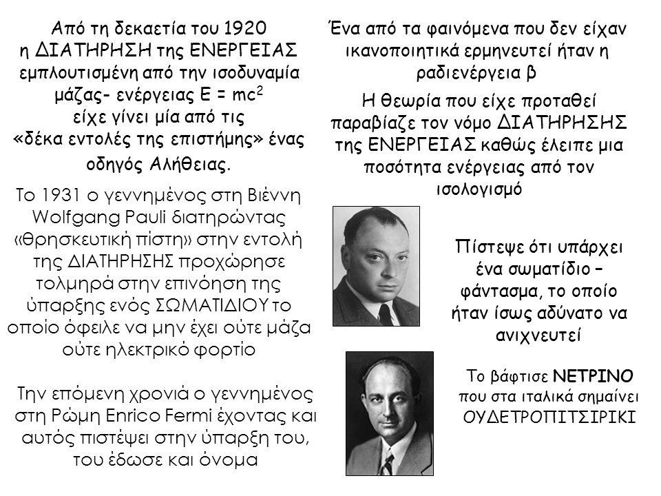 Από τη δεκαετία του 1920 η ΔΙΑΤΗΡΗΣΗ της ΕΝΕΡΓΕΙΑΣ εμπλουτισμένη από την ισοδυναμία μάζας- ενέργειας Ε = mc 2 είχε γίνει μία από τις «δέκα εντολές της επιστήμης» ένας οδηγός Αλήθειας.