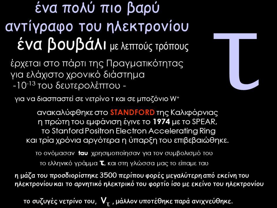 τ ένα πολύ πιο βαρύ αντίγραφο του ηλεκτρονίου έρχεται στο πάρτι της Πραγματικότητας για ελάχιστο χρονικό διάστημα -10 -13 του δευτερολέπτου - για να διασπαστεί σε νετρίνο τ και σε μποζόνιο W + ανακαλύφθηκε στο STANDFORD της Καλιφόρνιας η πρώτη του εμφάνιση έγινε το 1974 με το SPEAR, το Stanford Positron Electron Accelerating Ring και τρία χρόνια αργότερα η ύπαρξη του επιβεβαιώθηκε.