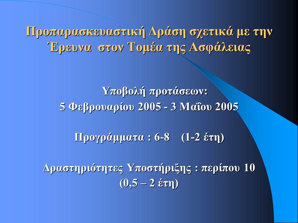 Προπαρασκευαστική Δράση σχετικά με την Έρευνα στον Τομέα της Ασφάλειας Υποβολή προτάσεων: 5 Φεβρουαρίου 2005 - 3 Μαΐου 2005 Προγράμματα : 6-8 (1-2 έτη) Δραστηριότητες Υποστήριξης : περίπου 10 (0,5 – 2 έτη)