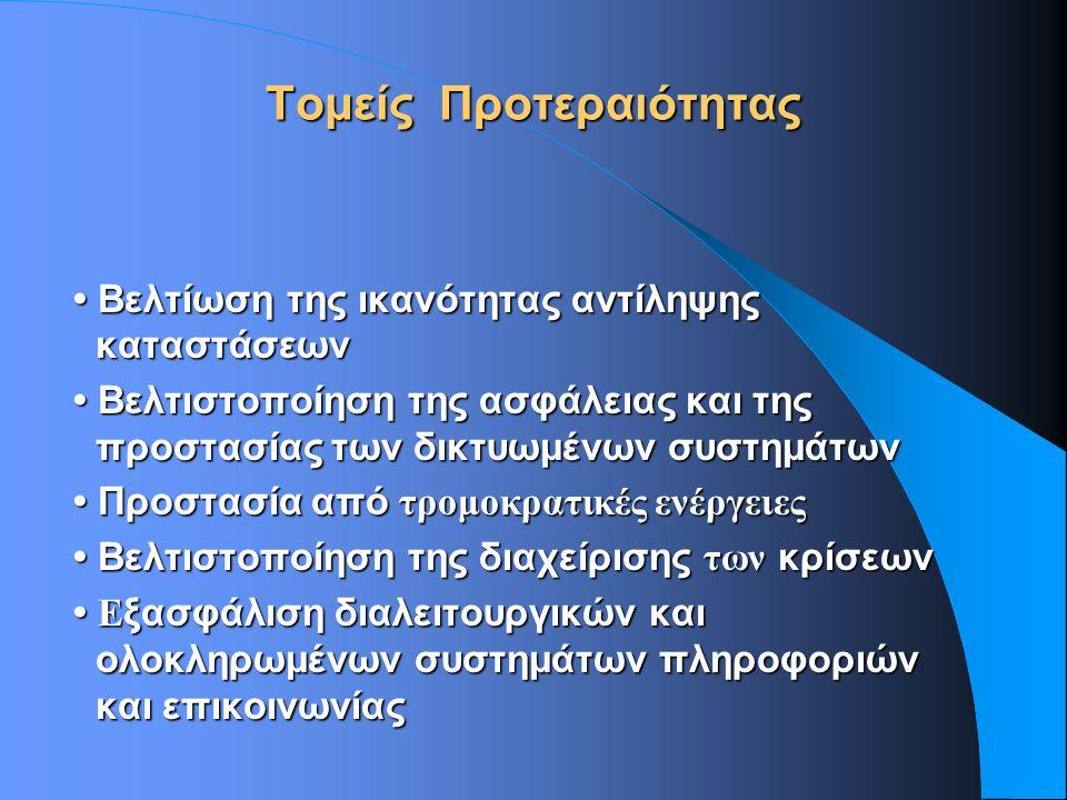 Τομείς Προτεραιότητας Βελτίωση της ικανότητας αντίληψης καταστάσεων Βελτίωση της ικανότητας αντίληψης καταστάσεων Βελτιστοποίηση της ασφάλειας και της προστασίας των δικτυωμένων συστημάτων Βελτιστοποίηση της ασφάλειας και της προστασίας των δικτυωμένων συστημάτων Προστασία από τρομοκρατικές ενέργειες Προστασία από τρομοκρατικές ενέργειες Βελτιστοποίηση της διαχείρισης των κρίσεων Βελτιστοποίηση της διαχείρισης των κρίσεων E ξασφάλιση διαλειτουργικών και ολοκληρωμένων συστημάτων πληροφοριών και επικοινωνίας E ξασφάλιση διαλειτουργικών και ολοκληρωμένων συστημάτων πληροφοριών και επικοινωνίας