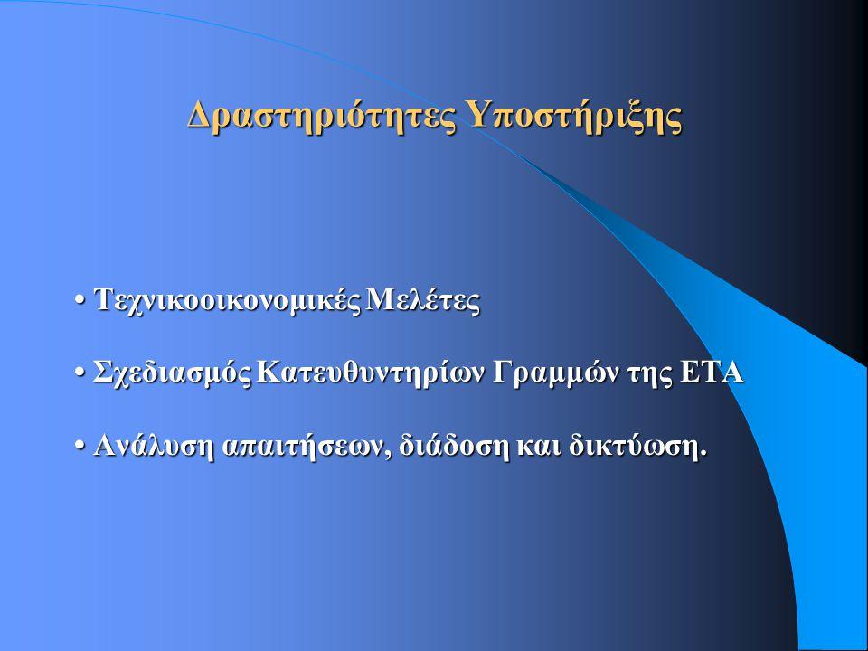Δραστηριότητες Υποστήριξης Τεχνικοοικονομικές Μελέτες Τεχνικοοικονομικές Μελέτες Σχεδιασμός Κατευθυντηρίων Γραμμών της ΕΤΑ Σχεδιασμός Κατευθυντηρίων Γραμμών της ΕΤΑ Ανάλυση απαιτήσεων, διάδοση και δικτύωση.