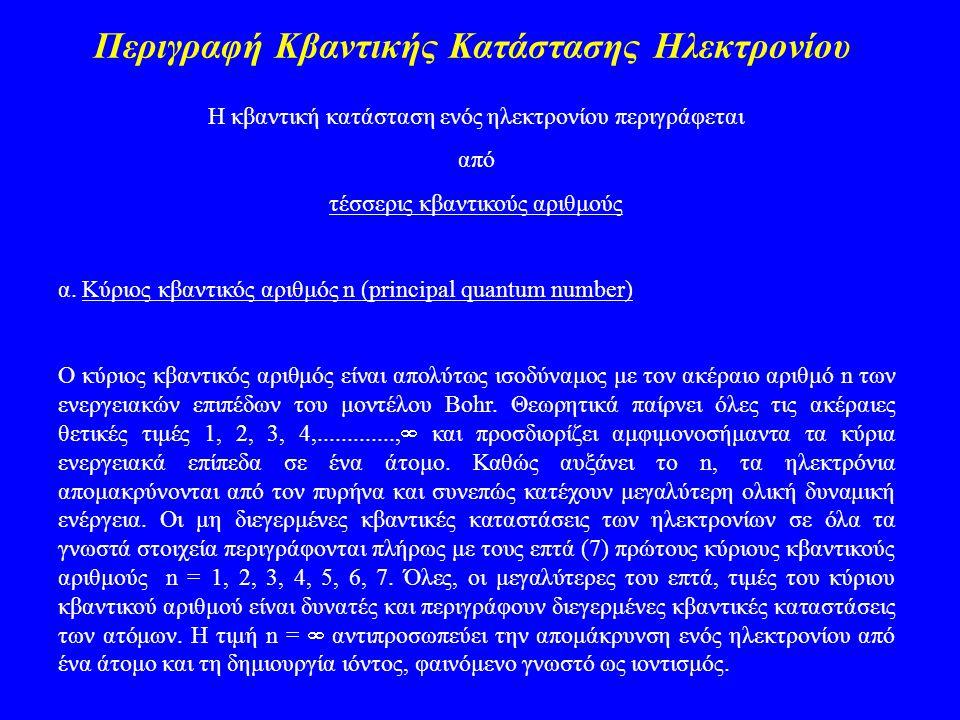 Περιγραφή Κβαντικής Κατάστασης Ηλεκτρονίου Η κβαντική κατάσταση ενός ηλεκτρονίου περιγράφεται από τέσσερις κβαντικούς αριθμούς α. Κύριος κβαντικός αρι