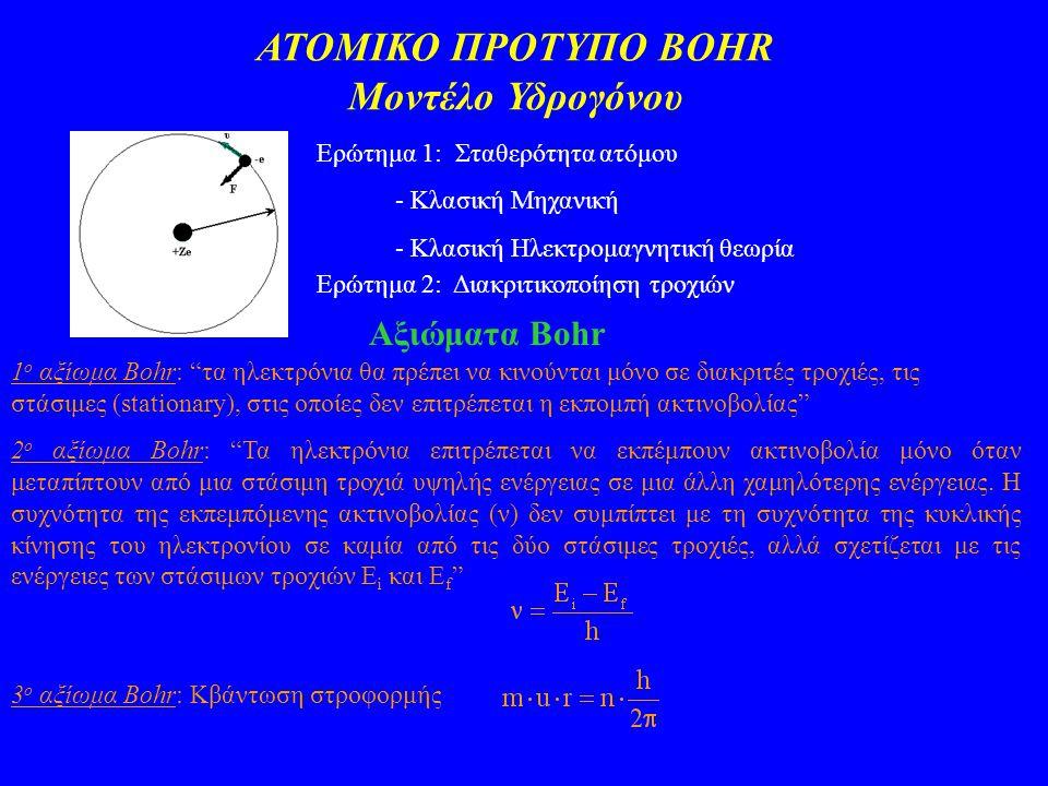 ΑΤΟΜΙΚΟ ΠΡΟΤΥΠΟ BOHR Μοντέλο Υδρογόνου Ερώτημα 1: Σταθερότητα ατόμου - Κλασική Μηχανική - Κλασική Ηλεκτρομαγνητική θεωρία Ερώτημα 2: Διακριτικοποίηση τροχιών Αξιώματα Bohr 1 ο αξίωμα Bohr: τα ηλεκτρόνια θα πρέπει να κινούνται μόνο σε διακριτές τροχιές, τις στάσιμες (stationary), στις οποίες δεν επιτρέπεται η εκπομπή ακτινοβολίας 2 ο αξίωμα Bohr: Τα ηλεκτρόνια επιτρέπεται να εκπέμπουν ακτινοβολία μόνο όταν μεταπίπτουν από μια στάσιμη τροχιά υψηλής ενέργειας σε μια άλλη χαμηλότερης ενέργειας.