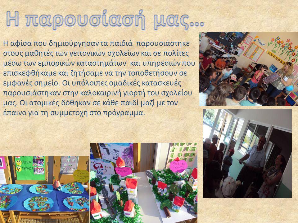 Η αφίσα που δημιούργησαν τα παιδιά παρουσιάστηκε στους μαθητές των γειτονικών σχολείων και σε πολίτες μέσω των εμπορικών καταστημάτων και υπηρεσιών πο
