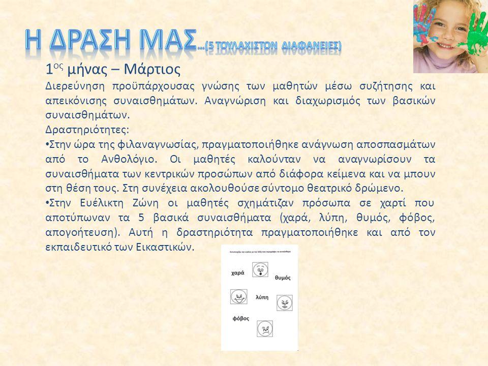 2 ος μήνας – Απρίλιος Γλωσσικές δραστηριότητες παραγωγής γραπτού λόγου Παιχνίδι ρόλων Στο γλωσσικό μάθημα δόθηκαν φωτοτυπίες στους μαθητές με συννεφάκια στα οποία ήταν γραμμένη η αρχή και τα παιδιά έπρεπε να ολοκληρώσουν την πρόταση.