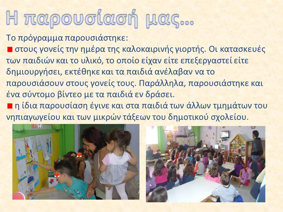 Tο πρόγραμμα παρουσιάστηκε: στους γονείς την ημέρα της καλοκαιρινής γιορτής. Οι κατασκευές των παιδιών και το υλικό, το οποίο είχαν είτε επεξεργαστεί