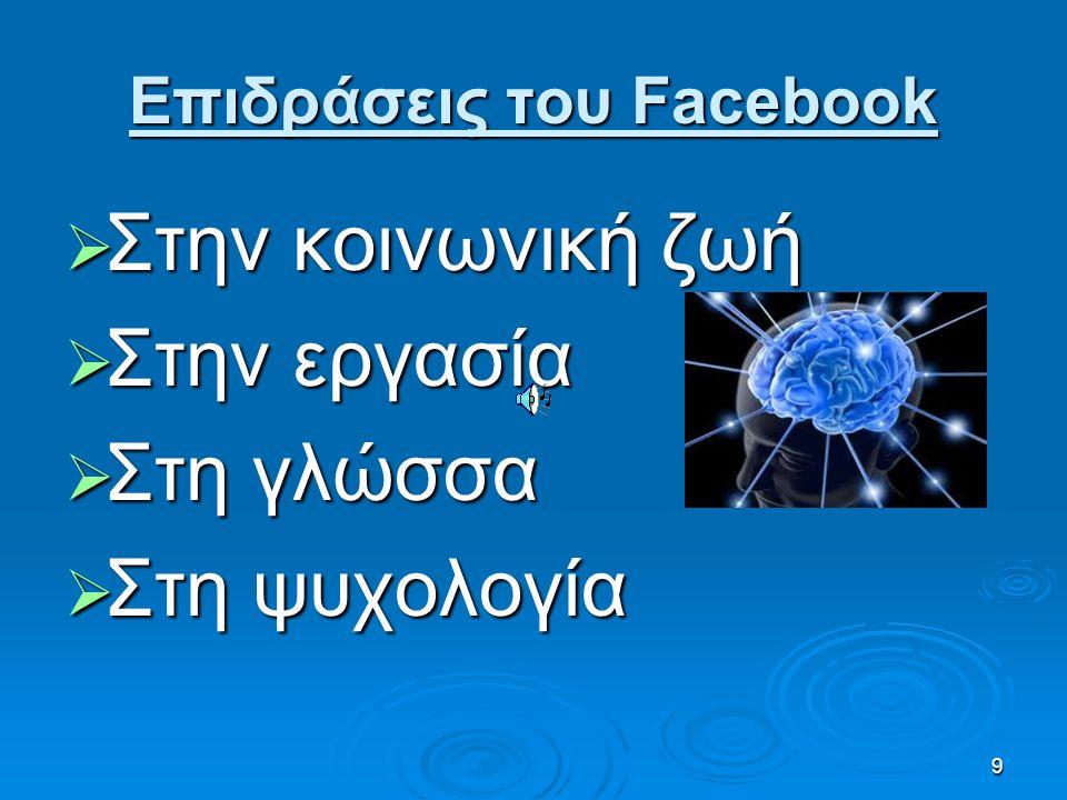 8 Λειτουργίες Facebook Προφίλ Συνομιλία Βιντεοκλήσεις Φωτογραφίες Μουσική Βίντεο Αναζήτηση Ενημερώσεις αρχικής σελίδας Εκδηλώσεις Ομάδες Σημειώσεις Ει