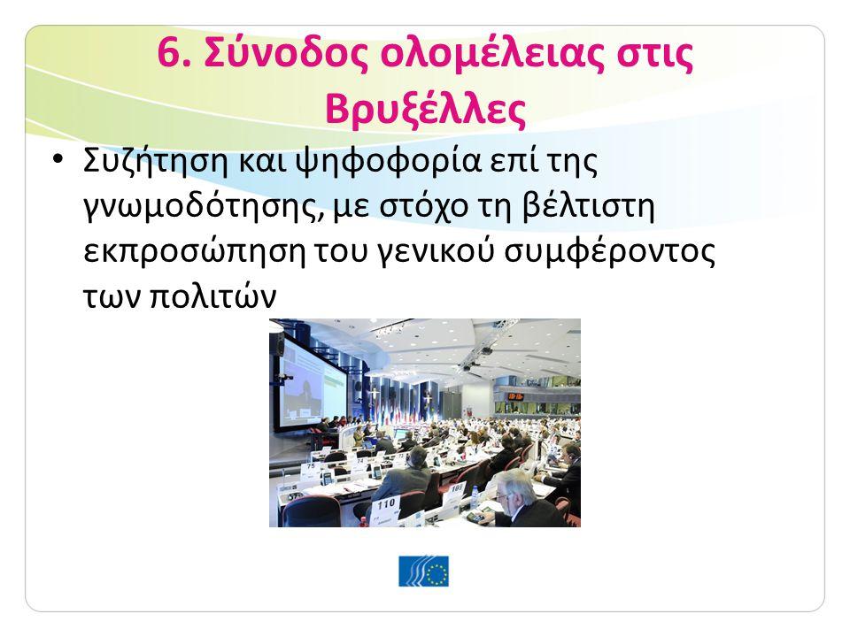 6. Σύνοδος ολομέλειας στις Βρυξέλλες Συζήτηση και ψηφοφορία επί της γνωμοδότησης, με στόχο τη βέλτιστη εκπροσώπηση του γενικού συμφέροντος των πολιτών