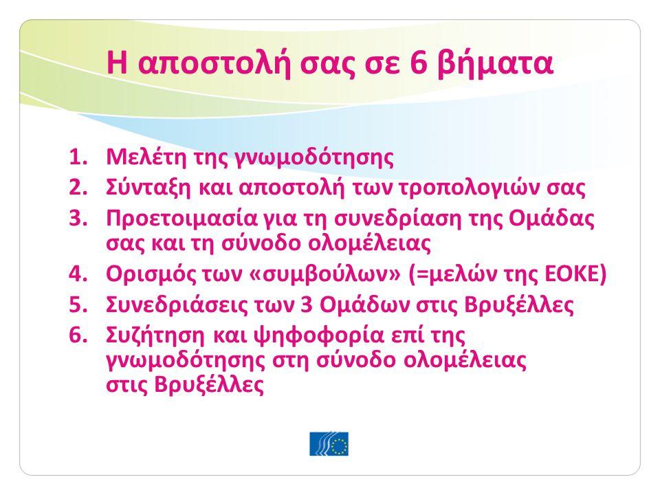 Η αποστολή σας σε 6 βήματα 1.Μελέτη της γνωμοδότησης 2.Σύνταξη και αποστολή των τροπολογιών σας 3.Προετοιμασία για τη συνεδρίαση της Ομάδας σας και τη σύνοδο ολομέλειας 4.Ορισμός των «συμβούλων» (=μελών της ΕΟΚΕ) 5.Συνεδριάσεις των 3 Ομάδων στις Βρυξέλλες 6.Συζήτηση και ψηφοφορία επί της γνωμοδότησης στη σύνοδο ολομέλειας στις Βρυξέλλες