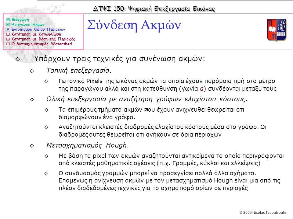ΔΤΨΣ 150: Ψηφιακή Επεξεργασία Εικόνας © 2005 Nicolas Tsapatsoulis Σύνδεση Ακμών ◊Υπάρχουν τρεις τεχνικές για συνένωση ακμών: ◊Τοπική επεξεργασία. ◊Γει