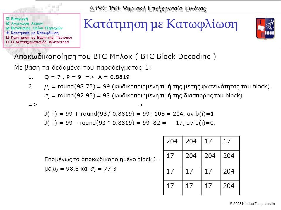 ΔΤΨΣ 150: Ψηφιακή Επεξεργασία Εικόνας © 2005 Nicolas Tsapatsoulis Κατάτμηση με Κατωφλίωση Αποκωδικοποίηση του BTC Μπλοκ ( BTC Block Decoding ) Με βάση τα δεδομένα του παραδείγματος 1: 1.Q = 7, P = 9 => A = 0.8819 2.μ Ι = round(98.75) = 99 (κωδικοποιημένη τιμή της μέσης φωτεινότητας του block).