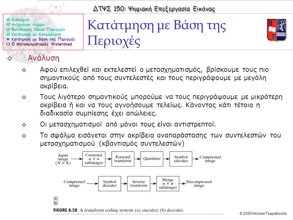 ΔΤΨΣ 150: Ψηφιακή Επεξεργασία Εικόνας © 2005 Nicolas Tsapatsoulis ◊Ανάλυση ◊Αφού επιλεχθεί και εκτελεστεί ο μετασχηματισμός, βρίσκουμε τους πιο σημαντικούς από τους συντελεστές και τους περιγράφουμε με μεγάλη ακρίβεια.