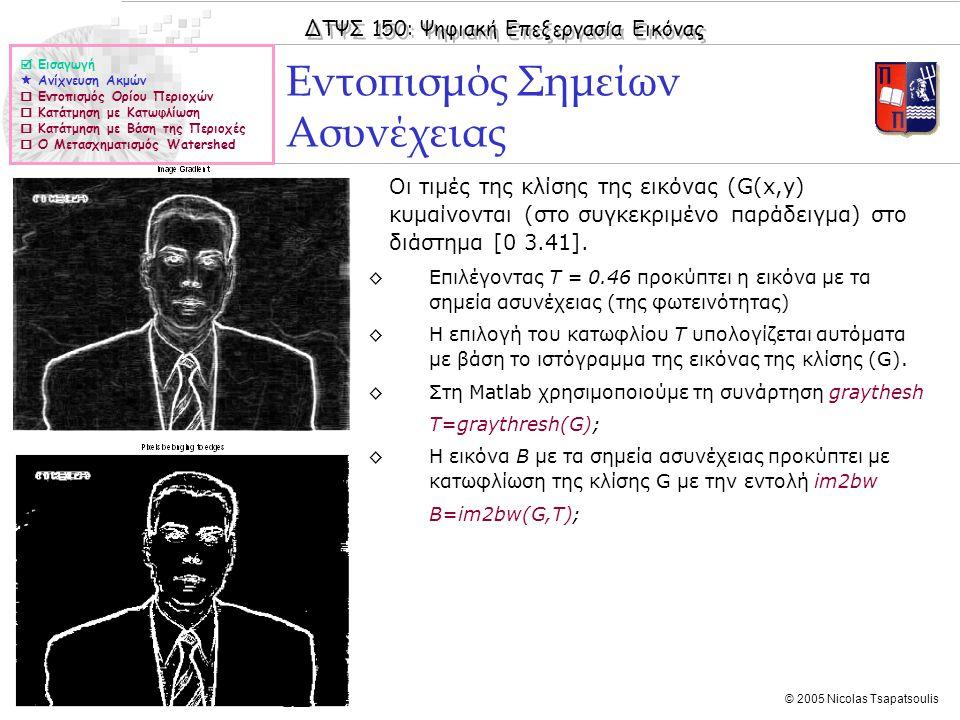 ΔΤΨΣ 150: Ψηφιακή Επεξεργασία Εικόνας © 2005 Nicolas Tsapatsoulis Εντοπισμός Σημείων Ασυνέχειας  Εισαγωγή  Ανίχνευση Ακμών  Εντοπισμός Ορίου Περιοχών  Κατάτμηση με Κατωφλίωση  Κατάτμηση με Βάση της Περιοχές  Ο Μετασχηματισμός Watershed ◊Οι τιμές της κλίσης της εικόνας (G(x,y) κυμαίνονται (στο συγκεκριμένο παράδειγμα) στο διάστημα [0 3.41].