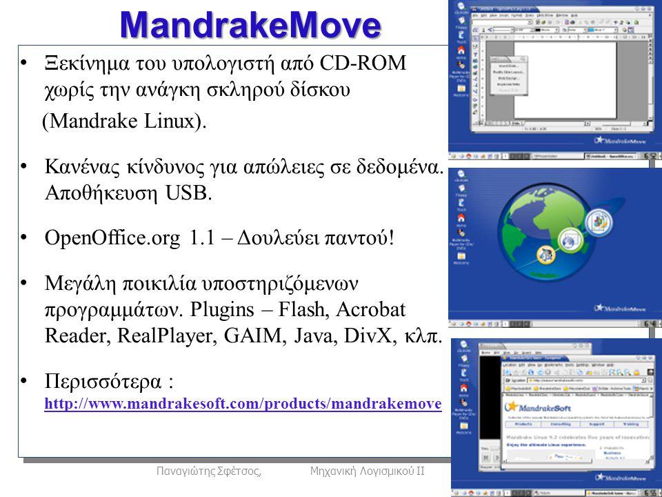 22Παναγιώτης Σφέτσος, Μηχανική Λογισμικού ΙΙ Ξεκίνημα του υπολογιστή από CD-ROM χωρίς την ανάγκη σκληρού δίσκου (Mandrake Linux).