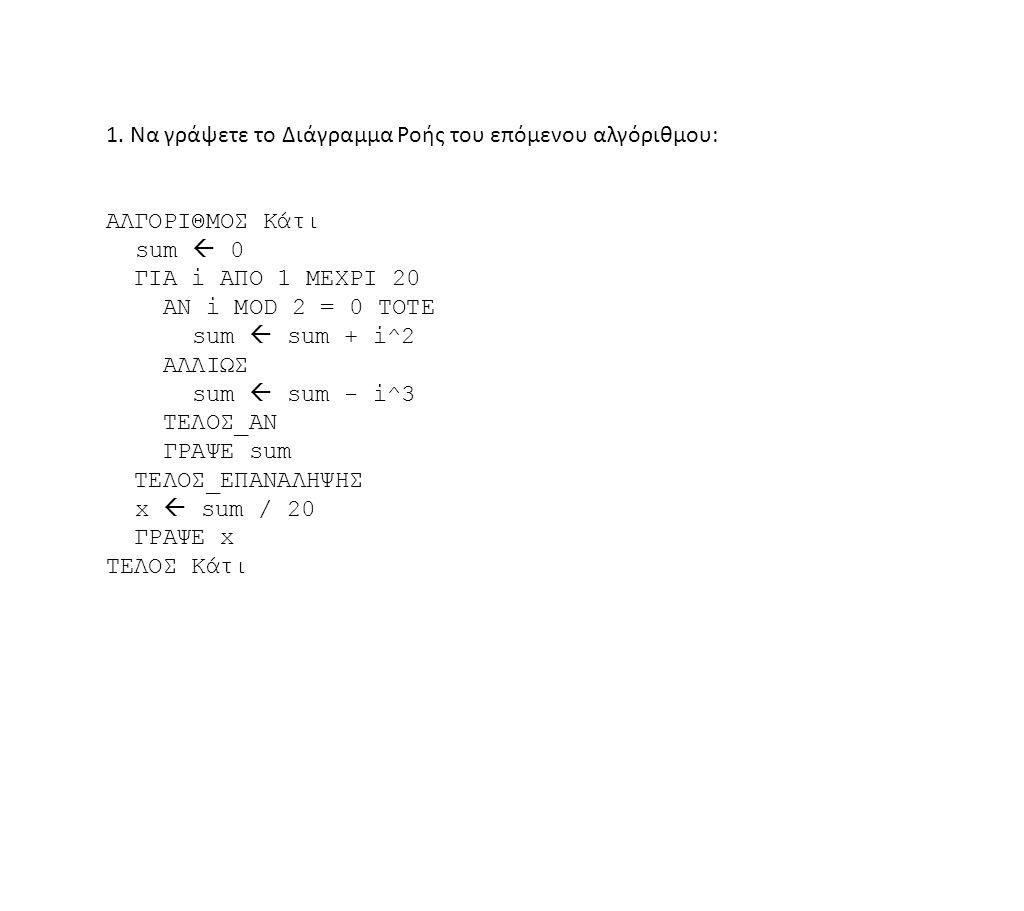 1. Να γράψετε το Διάγραμμα Ροής του επόμενου αλγόριθμου: ΑΛΓΟΡΙΘΜΟΣ Κάτι sum  0 ΓΙΑ i ΑΠΟ 1 ΜΕΧΡΙ 20 ΑΝ i MOD 2 = 0 ΤΟΤΕ sum  sum + i^2 ΑΛΛΙΩΣ sum 