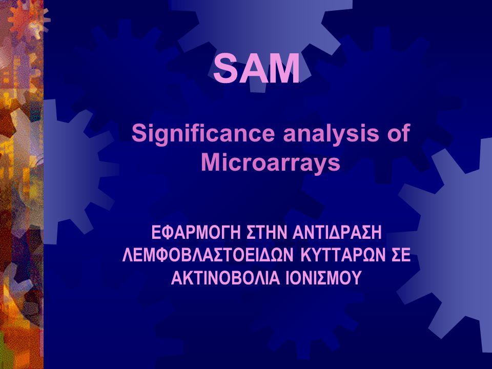 SAM Significance analysis of Microarrays ΕΦΑΡΜΟΓΗ ΣΤΗΝ ΑΝΤΙΔΡΑΣΗ ΛΕΜΦΟΒΛΑΣΤΟΕΙΔΩΝ ΚΥΤΤΑΡΩΝ ΣΕ ΑΚΤΙΝΟΒΟΛΙΑ ΙΟΝΙΣΜΟΥ