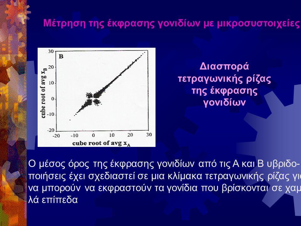 Μέτρηση της έκφρασης γονιδίων με μικροσυστοιχείες Διασπορά τετραγωνικής ρίζας της έκφρασης γονιδίων Ο μέσος όρος της έκφρασης γονιδίων από τις Α και Β υβριδο- ποιήσεις έχει σχεδιαστεί σε μια κλίμακα τετραγωνικής ρίζας για να μπορούν να εκφραστούν τα γονίδια που βρίσκονται σε χαμη- λά επίπεδα