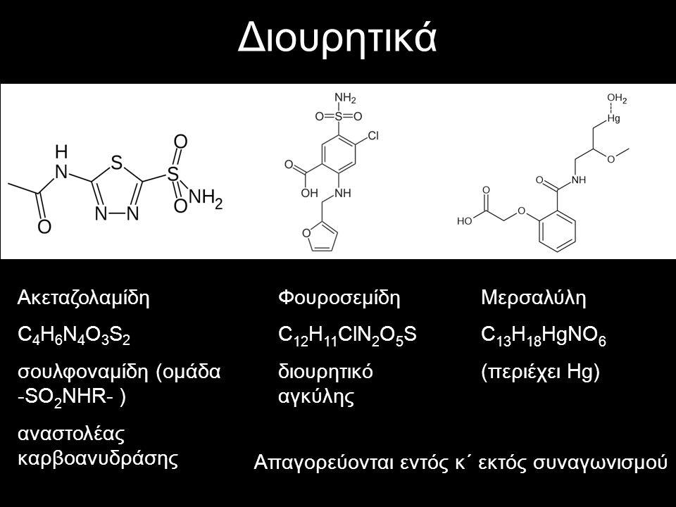 Διουρητικά Ακεταζολαμίδη C 4 H 6 N 4 O 3 S 2 σουλφοναμίδη (ομάδα -SO 2 NHR- ) αναστολέας καρβοανυδράσης Φουροσεμίδη C 12 H 11 ClN 2 O 5 S διουρητικό α