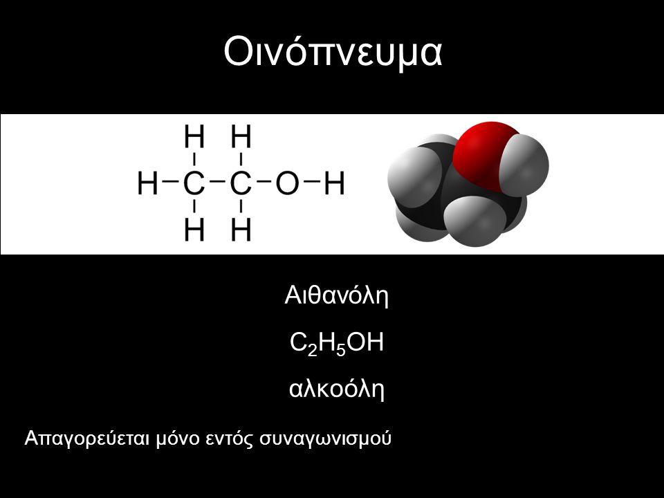 Οινόπνευμα Αιθανόλη C 2 H 5 OH αλκοόλη Απαγορεύεται μόνο εντός συναγωνισμού