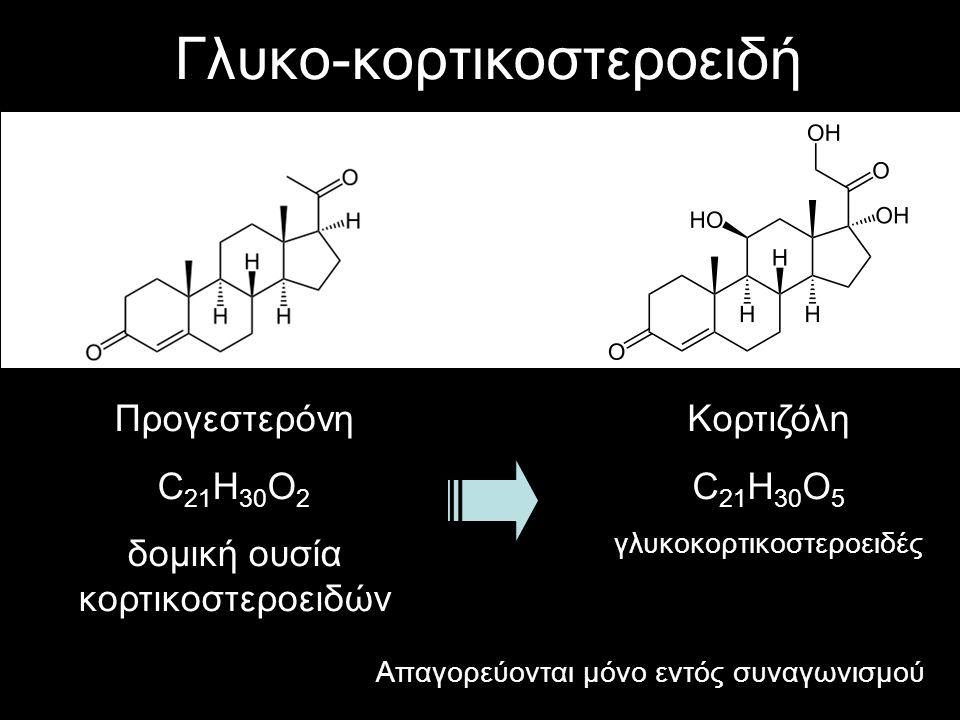 Γλυκο-κορτικοστεροειδή Προγεστερόνη C 21 H 30 O 2 δομική ουσία κορτικοστεροειδών Κορτιζόλη C 21 H 30 O 5 γλυκοκορτικοστεροειδές Απαγορεύονται μόνο εντ