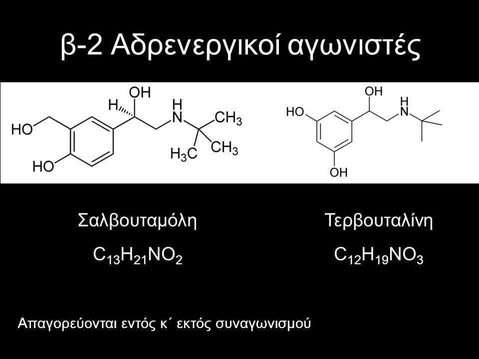 β-2 Αδρενεργικοί αγωνιστές Σαλβουταμόλη C 13 H 21 ΝO 2 Τερβουταλίνη C 12 H 19 NO 3 Απαγορεύονται εντός κ΄ εκτός συναγωνισμού