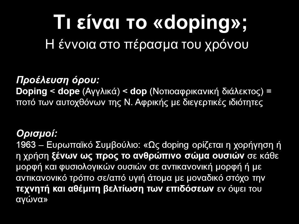Τι είναι το «doping»; Η έννοια στο πέρασμα του χρόνου Προέλευση όρου: Doping < dope (Αγγλικά) < dop (Νοτιοαφρικανική διάλεκτος) = ποτό των αυτοχθόνων