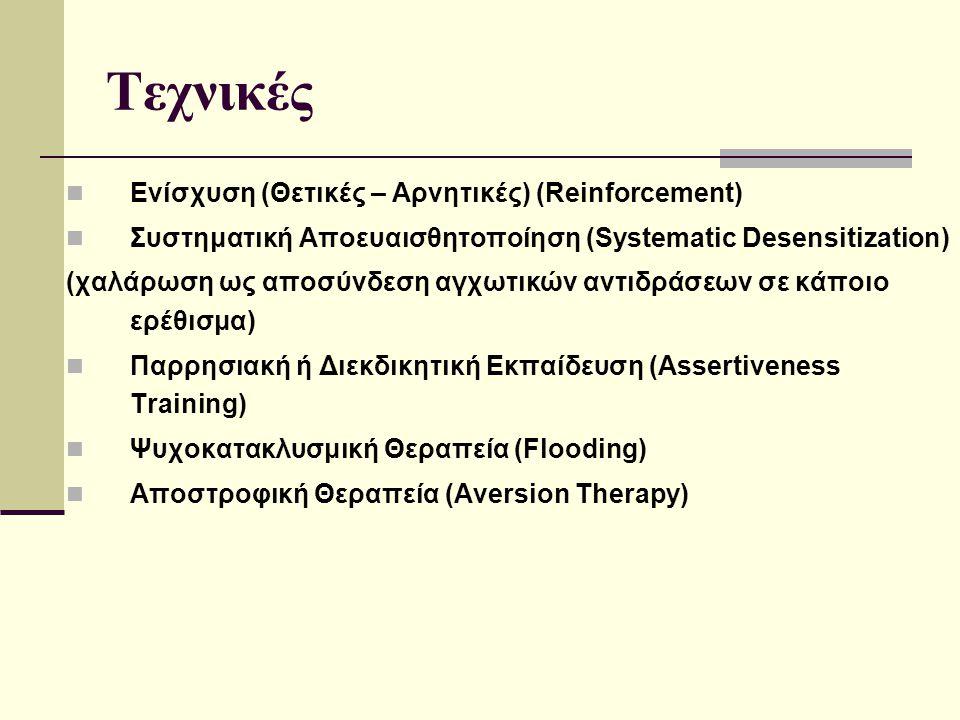 Τεχνικές Ενίσχυση (Θετικές – Αρνητικές) (Reinforcement) Συστηματική Αποευαισθητοποίηση (Systematic Desensitization) (χαλάρωση ως αποσύνδεση αγχωτικών