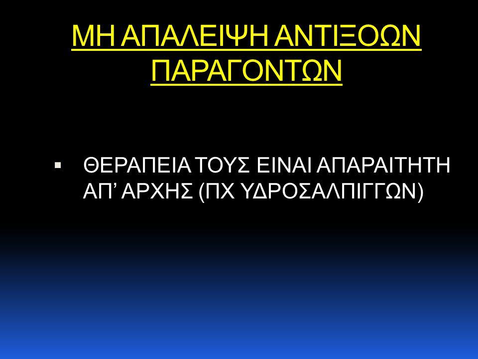 ΜΗ ΑΠΑΛΕΙΨΗ ΑΝΤΙΞΟΩΝ ΠΑΡΑΓΟΝΤΩΝ  ΘΕΡΑΠΕΙΑ ΤΟΥΣ ΕΙΝΑΙ ΑΠΑΡΑΙΤΗΤΗ ΑΠ' ΑΡΧΗΣ (ΠΧ ΥΔΡΟΣΑΛΠΙΓΓΩΝ)