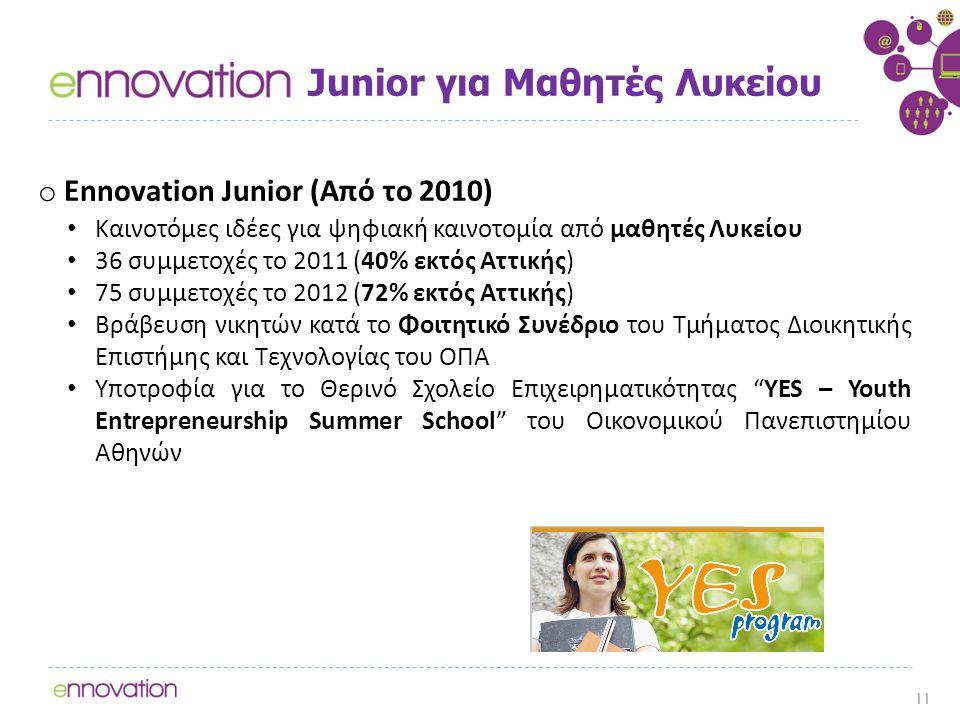 Junior για Μαθητές Λυκείου o Ennovation Junior (Από το 2010) Καινοτόμες ιδέες για ψηφιακή καινοτομία από μαθητές Λυκείου 36 συμμετοχές τo 2011 (40% εκτός Αττικής) 75 συμμετοχές το 2012 (72% εκτός Αττικής) Βράβευση νικητών κατά το Φοιτητικό Συνέδριο του Τμήματος Διοικητικής Επιστήμης και Τεχνολογίας του ΟΠΑ Υποτροφία για το Θερινό Σχολείο Επιχειρηματικότητας YES – Youth Entrepreneurship Summer School του Οικονομικού Πανεπιστημίου Αθηνών 11