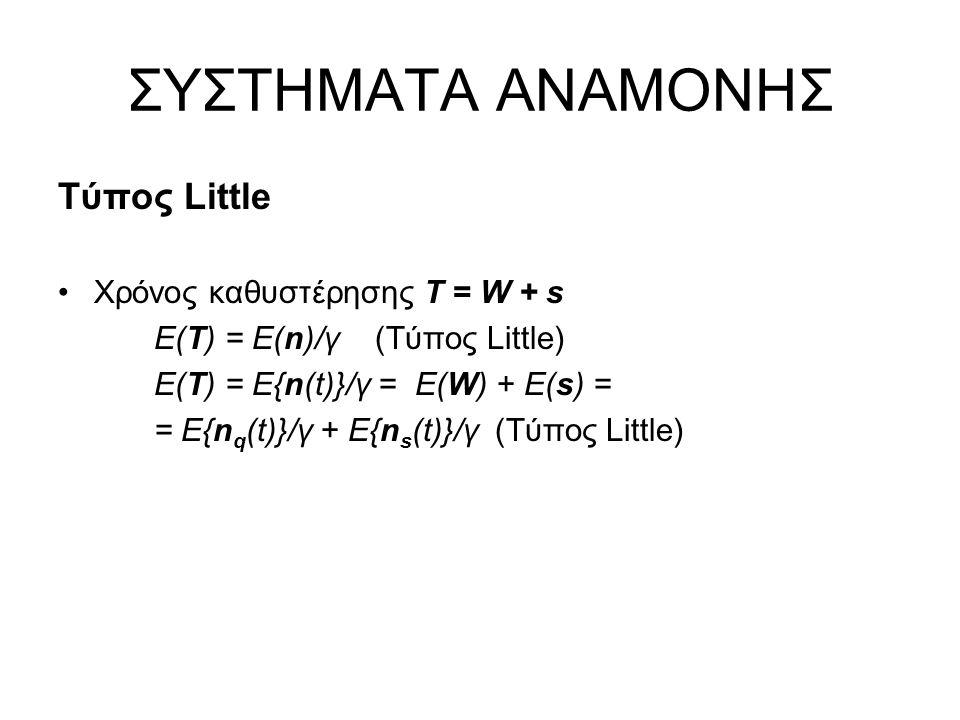 ΣΥΣΤΗΜΑΤΑ ΑΝΑΜΟΝΗΣ Τύπος Little Χρόνος καθυστέρησης Τ = W + s Ε(Τ) = Ε(n)/γ (Τύπος Little) Ε(Τ) = E{n(t)}/γ = E(W) + E(s) = = E{n q (t)}/γ + E{n s (t)