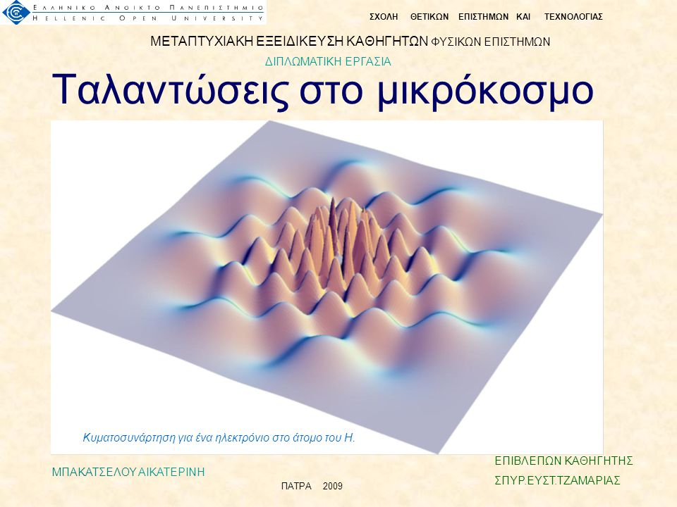 Ταλαντώσεις στο μικρόκοσμο Κυματοσυνάρτηση για ένα ηλεκτρόνιο στο άτομο του Η.