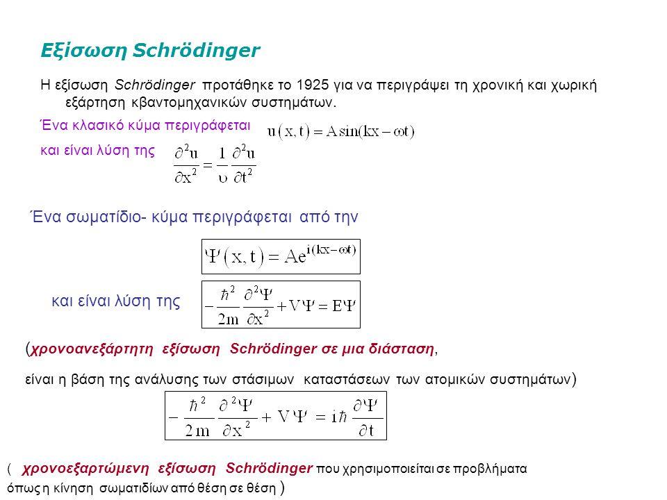 Εξίσωση Schrödinger Η εξίσωση Schrödinger προτάθηκε το 1925 για να περιγράψει τη χρονική και χωρική εξάρτηση κβαντομηχανικών συστημάτων.