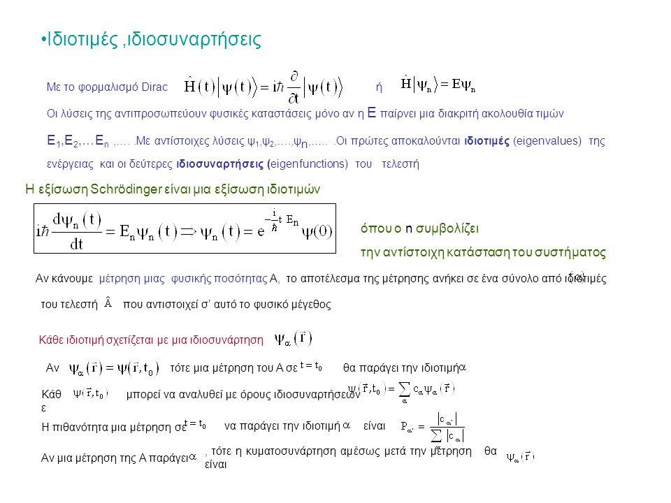 Ιδιοτιμές,ιδιοσυναρτήσεις Με το φορμαλισμό Diracή Οι λύσεις της αντιπροσωπεύουν φυσικές καταστάσεις μόνο αν η Ε παίρνει μια διακριτή ακολουθία τιμών Ε 1,Ε 2,…Ε n,…..Με αντίστοιχες λύσεις ψ 1,ψ 2,….,ψ n,…...Οι πρώτες αποκαλούνται ιδιοτιμές (eigenvalues) της ενέργειας και οι δεύτερες ιδιοσυναρτήσεις (eigenfunctions) του τελεστή Η εξίσωση Schrödinger είναι μια εξίσωση ιδιοτιμών όπου ο n συμβολίζει την αντίστοιχη κατάσταση του συστήματος Αν κάνουμε μέτρηση μιας φυσικής ποσότητας Α, το αποτέλεσμα της μέτρησης ανήκει σε ένα σύνολο από ιδιοτιμές του τελεστή.