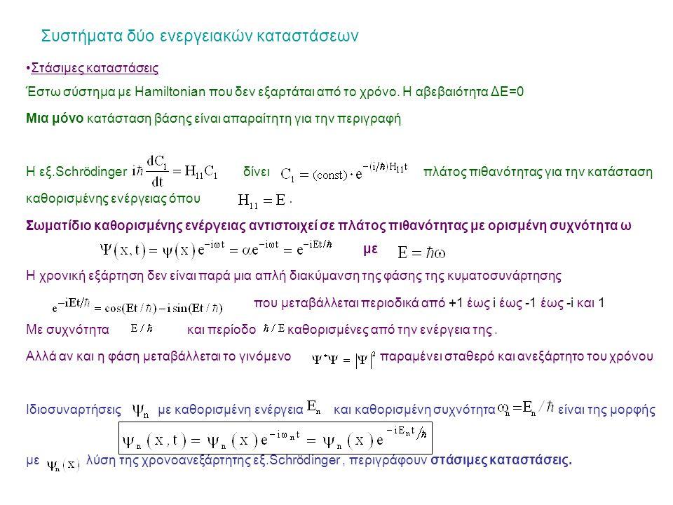 Συστήματα δύο ενεργειακών καταστάσεων Στάσιμες καταστάσεις Έστω σύστημα με Hamiltonian που δεν εξαρτάται από το χρόνο.